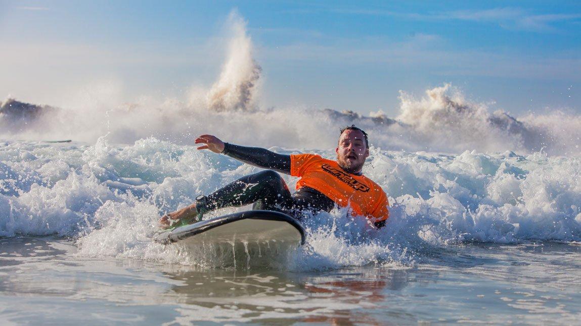 surfer falling