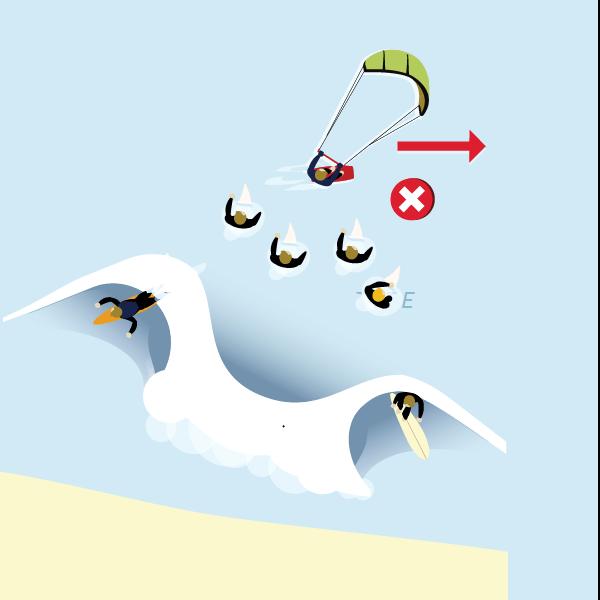 surfers against kiters